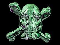 Green skull and bones. A greenish metallic skull and bones stock illustration