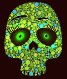 Green skull with circles Stock Photos