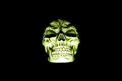 Green Skull Isolated on Black Stock Images