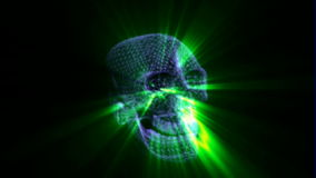 Green skull, Video background. High definition and smooth movement. stock video