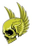 Green skull with wings Stock Image
