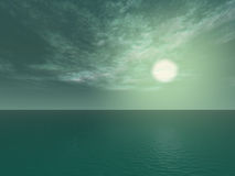 Green sky. And ocean vector illustration
