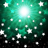 Green Sky Background Shows Radiance Stars And Heavens Stock Image
