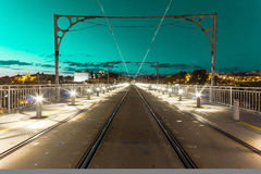 Green sky over rails. A green sky over tram rails in Porto Stock Photos