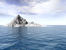Green_Sky2. Big antarctic  iceberg - 3d landscape scene Stock Images