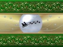 Green Sleigh Background. A beautiful illustrated background with an abstract design and Santa riding his sleigh Stock Photography