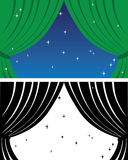 Green sliding curtain. With stars Stock Illustration