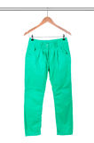 Green slim male jeans Stock Photos