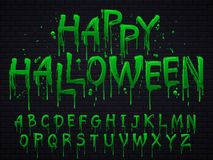 Green slime font. Halloween toxic waste letters, scary horror greens goo sign and splash liquid slimes vector isolated stock illustration