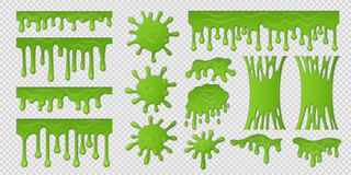 Green slime. Goo paint drip, spooky liquid borders, toxic sticky shape on white. Slime splash blobs and green