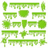 Green slime isolated on white. Green slime. Spots and streaks of goo sticky mucus vector illustration, spooky liquid mucilage paint drops isolated on white Royalty Free Stock Photos