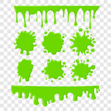 Green slime vector set on checkered transparent background Royalty Free Stock Image
