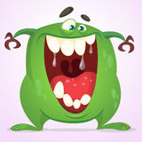 Green slimy monster with big teeth and mouth opened wide. Halloween vector monster character. Cartoon alien mascot isolated Stock Photos