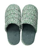 Green slippers with flower print isolated on white background. Close up, high resolution Royalty Free Stock Images