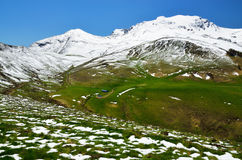 Green slopes with snow in the spring Pyrenees Stock Images