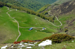 Green slopes of the spring Pyrenees. A country road is twisting on the green pasture between the glacis forested and steep slope covered with snow in the spring Royalty Free Stock Image