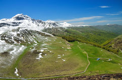 Green slopes of the spring Pyrenees Stock Photo