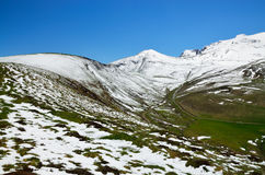 Green slopes of the spring Pyrenees Royalty Free Stock Photo