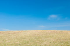 Green sloping  meadows. And clouds with blue sky Stock Photography