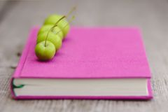 Green small Apples on the Book. On the wooden background Royalty Free Stock Photography