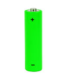 Green small battery. With positive and negative signs Stock Image