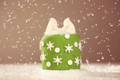 Green small cake with snow Stock Images