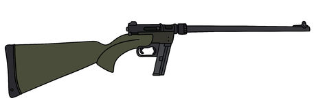 Green small caliber rifle. Hand drawing of a dark green small caliber sport rifle royalty free illustration