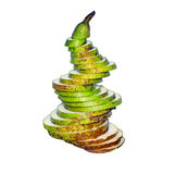 Green small sliced pear isolated Royalty Free Stock Photo