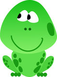 Green smart smiling frog Royalty Free Stock Image