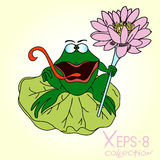 Green smiling cartoon frog with a staff of lilies in his hand on the leaf Royalty Free Stock Image