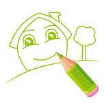 Green smiling home Royalty Free Stock Photo
