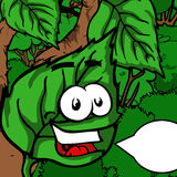 Green smiling leaf with speech bubble Stock Images
