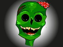 Green smiling zombie head icon with brains and yellow teeth for Halloween stock illustration