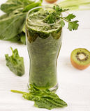 Green smoothie. Green vegetable smoothie on white background Royalty Free Stock Photo