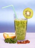 Green Smoothie. With apple, kiwi, parsley and raisins Royalty Free Stock Photo