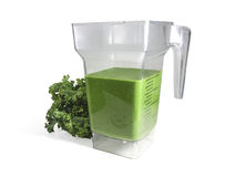 Green Smoothie in Blender with Kale Isolated on Wh Stock Photos