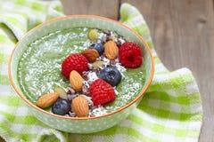 Green smoothie bowl Royalty Free Stock Photo