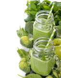 Green smoothie with broccoli and spinach Royalty Free Stock Photos