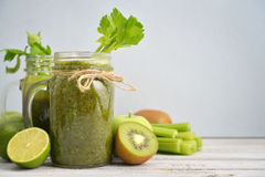 Green smoothie with celery Stock Photo