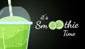 Green smoothie cucumber logo flat illustration. Green smoothie cucumber logo flat vector illustration. Smoothie logo on black background, glass filled with royalty free illustration