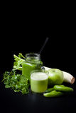 Green smoothie, cucumbers, mint, apple, celery stock image