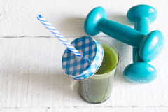 Green smoothie detox and fitness gym health care Royalty Free Stock Images
