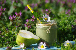 Green smoothie with edible wild herbs and pears Stock Photos