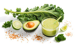 Green smoothie with flax. Stock Image