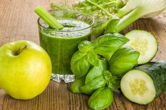 Green Smoothie with fresh ingredients Stock Images