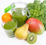 Green Smoothie With Fresh Kale And Fruits Stock Images