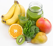 Green Smoothie With Fruits And Greens Stock Photos