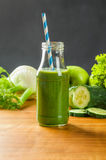 Green smoothie with  fruits and vegetables Royalty Free Stock Photos
