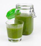 Green Smoothie In A Glass And In A Open Jar Stock Photography