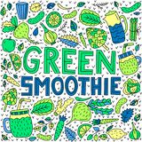 Green smoothie. Vector lettering with doodle illustrations stock illustration